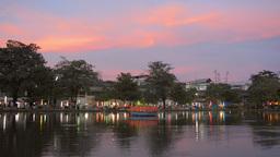 Colorful Sky over Loi Krathong Festival Celebratio Stock Video Footage