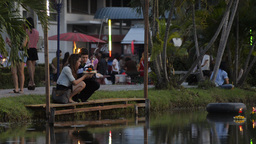 A Bread Krathong Floating By on a Pond in the Loi Stock Video Footage