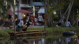 A Bread Krathong Floating By on a Pond in the Loi  Footage