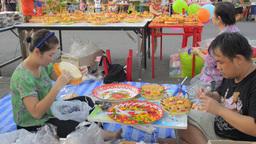 Thai Woman Praying During The Loi Krathong Festiva Stock Video Footage