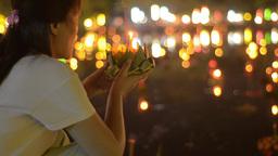 Thai Man Praying Before Releasing a Krathong Durin Stock Video Footage