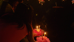 Thai Man Praying During the Loi Krathong Festival Stock Video Footage