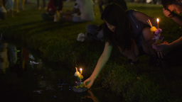 Flower Krathong Floating in Pond in Bangkok During Stock Video Footage