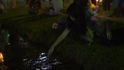 Flower Krathong Floating in Pond in Bangkok During Stock Video Footage