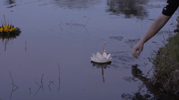 Krathong Floating in the Dusk Light During the Loi Stock Video Footage