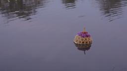 Small Krathong Floating in Pond During Loi Krathon Stock Video Footage