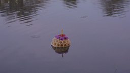 Small Krathong Floating in Pond During Loi Krathon Footage