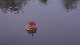 Small Krathong Floating in Pond During Loi Krathon Stock Video Footage