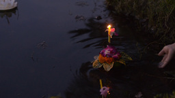Young Thai Couple Praying During The Loi Krathong Stock Video Footage