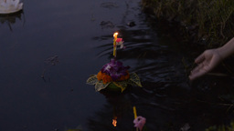 Young Thai Couple Praying During The Loi Krathong  Footage