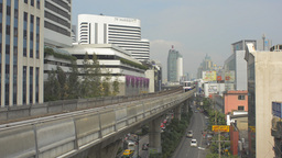 Passengers Waiting at a Skytrain Station in Bangko Stock Video Footage