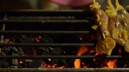 Sticks of Grilled Squid Laid Out Ready for Purchas Stock Video Footage