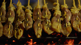 Street Vendor Selling Grilled Squid in Bangkok Footage