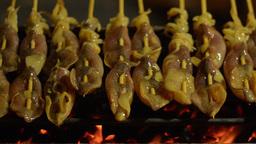 Street Vendor Selling Grilled Squid in Bangkok Stock Video Footage