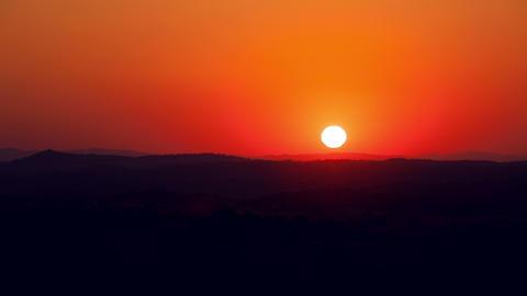 Vibrant Sunrise behind the Mountain, timelapse, 4K Footage