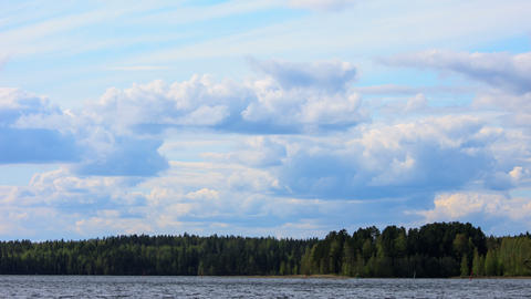 Fluffy Clouds over the Forest Lake, timelapse, 4K Stock Video Footage