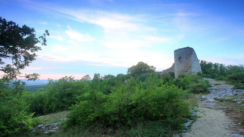 Timelapse sunset in the mountains. Cuyren Fortress Stock Video Footage
