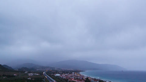 Dawn over the coast of Sicily. Italy. Time Lapse Footage