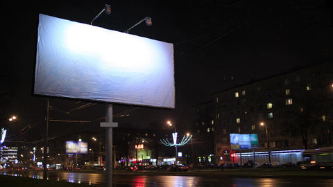 Time lapse empty billboard, by night Stock Video Footage