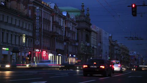 Time lapse effect of city life at night Stock Video Footage