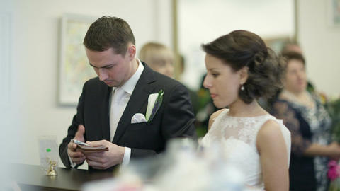 Bride and groom in register office Stock Video Footage