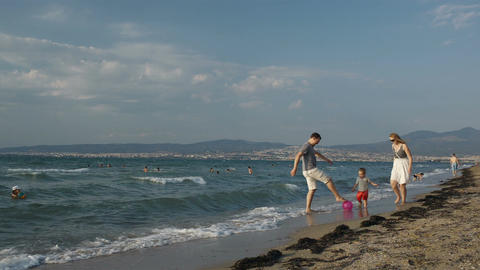 Family fun on the beach Stock Video Footage