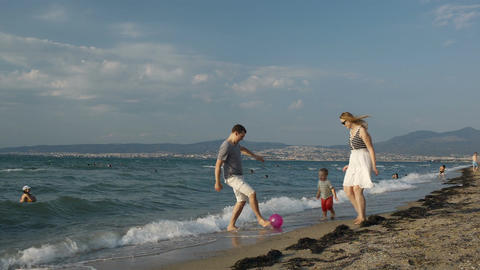 Family Fun On The Beach stock footage
