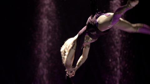 Aerial silk gymnast Stock Video Footage