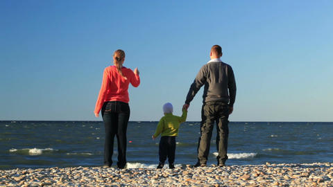 Young family at the seaside Stock Video Footage