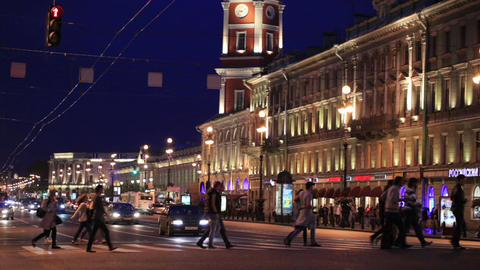 Nevsky Avenue at night Footage