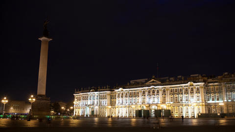 Time lapse of people walking on Palace Square Stock Video Footage