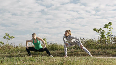 Two girls training Stock Video Footage