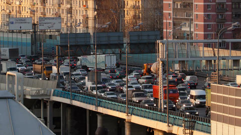Time Lapse Traffic Congestion On An Urban Flyover stock footage