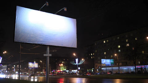 Time lapse of urban scene with an empty billboard, Stock Video Footage