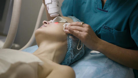 Cosmetic procedure with a laser Stock Video Footage