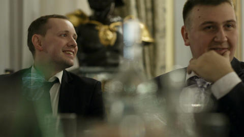 Two men during celebration Stock Video Footage