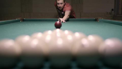 Man playing billiards Stock Video Footage