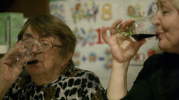 Two women clanging glasses Stock Video Footage