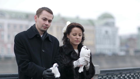 Releasing wedding pigeons Stock Video Footage