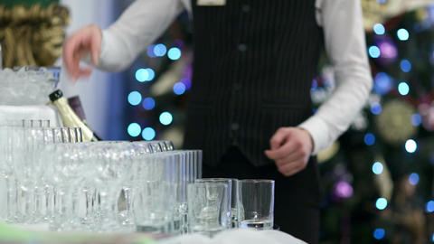 Waiter pouring glasses of champagne Stock Video Footage