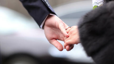 Wedding couple holding hands Stock Video Footage