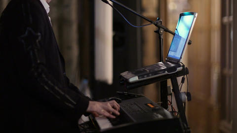Person playing an electronic keyboard Stock Video Footage