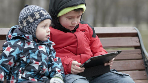 Brothers With Tablet Computer stock footage