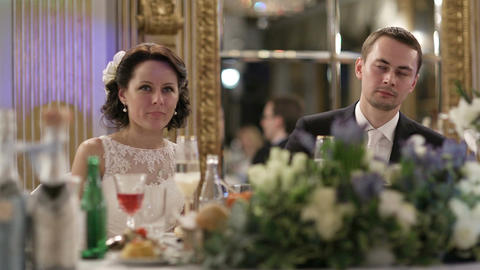 Newly-weds at the festive table Footage