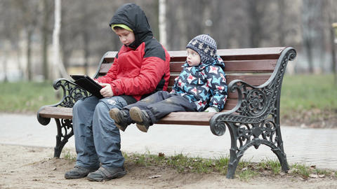 Two Brothers With Tablet Computer stock footage
