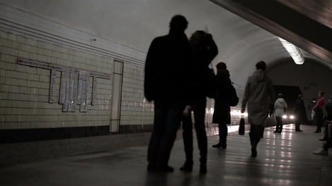 Train arrives at the station of the Moscow metro Stock Video Footage