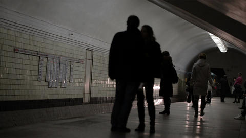 Train arrives at the station of the Moscow metro Footage