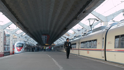 High speed train Sapsan departs from the railway s Footage