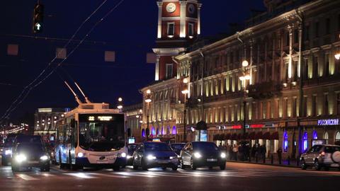 St. Petersburg at night Stock Video Footage