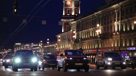 St. Petersburg at night Stock Video Footage